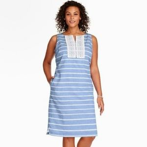Talbots linen stripe shift dress size 12